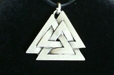 Valknut Symbol of Odin Pewter Pendant Leather Necklace! New Thor Norse Pagan