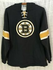 Boston Bruins CCM NHL Boy's Distressed Logo Black Hoodie Sweatshirt~X-Large XL