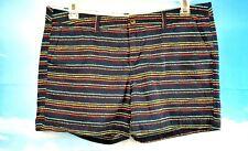 MERONA Woman's Shorts NAVY BLUE w/ MULTI COLOR Stripes COTTON size 14