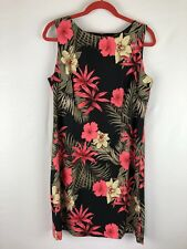 Alyx Womens Dress Size 16 Sheath Black Coral Beige Sleeveless Floral Tropical