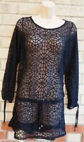 NEXT BLACK LONG SLEEVE LACE BELTED TIE LONG SLEEVE BEACH TUNIC TOP BLOUSE 14 L