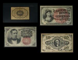 10 Cent Fractional Currency Set of 4 Different Notes No Reserve Auction 99C Open