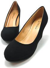 NEW 7 BLACK Slip On Pump Wedge Platform Round toe High Heel Party Women Shoe S