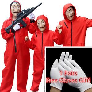 Mens Kids La casa de papel Halloween Costume Cosplay Mask Money Heist JumpSuit