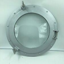 "Nautical Aluminum Porthole Window 17"" Silver Round With Glass Wall Decor"
