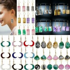 Crystal Natural Stone Gradient Color Geometrical Earrings Stud Dangle Women Hook