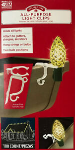 100 Holiday Time All-Purpose Light Clips - works with Gutters & Shingles - Adams