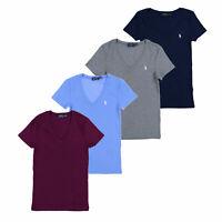 Polo Ralph Lauren Womens T-Shirt V-neck Short Sleeve Perfect Tee Pony Logo M L
