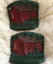 Antique Bookends Log Mountain Cabin Cast Iron Painted Vintage Decor Doorstops