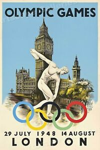 London Olympic Games 1948 - Vintage Style Sports Poster - 24x36