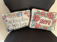 "Set Of 2 Vintage Floral Garden Tapestry Small Decorative Pillows 11.5"" X 8"""