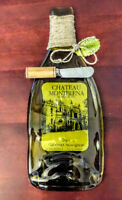 Brand NEW GLASS BOTTLE CHEESE PLATTER Set with Cutting Knife, Olive Green, USA!!