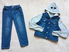 Cat & Jack Girls Denim Jacket & Jeans Outfit, Size 10/12, Blue & Gray, Cat Hood
