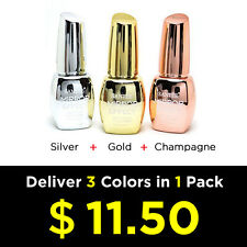 "Santee ""Mirror Effect"" Nail Polish (Silver + Gold + Champagne) Extra Shine 14ml"