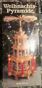 Vintage German Weihnachts Pyramid 3 tier 22 inch hand crafted nativity scene