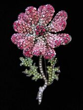 Crystal Rhinestone Flower Brooch Stunning Large Dimensional Pave Pink