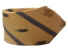 HERMES TIE 7022 TA Camel/Man on Yellow Classic Silk Necktie
