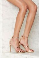 NEW Nasty Gal In for the Thrill Strappy Heel - Rose Gold Metallic 6M open toed