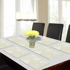 Cream Color 6 Placemats(30 x 45 cm) + 1 Runner(30 x 135 cm)For Table Made Of PVC