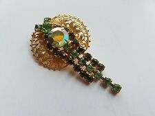Beautiful Antique Estate Sale Golden Brooch with Green Crystals