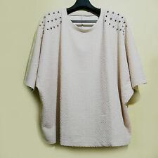 Beige Textured Dolman Loose Top With Embellished Shoulders