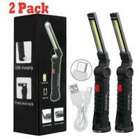 Magnetic Rechargeable COB LED RED Work Light Lamp Flashlight Folding Torch