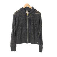 Harley Davidson Hoodie Jacket Lace Black Women's M Cotton Long Sleeve Full Zip