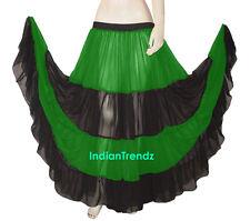 Red & Black Chiffon 12 Yard 4 Tiered Gypsy Skirt Belly Dance Tribal Flamenco Mix