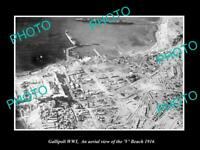 OLD POSTCARD SIZE MILITARY PHOTO WWI GALLIPOLI AERIAL VIEW OF V BEACH c1916