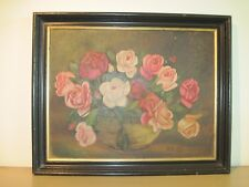 Vintage 1935 Painting Of Roses Framed Oil On Board Dated And Signed
