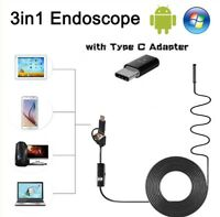 3 in 1 USB Type C Endoscope Borescope Inspection HD Camera For Android Mac OS US