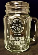 Firefly Serenity Browncoat Whiskey Custom Etched Mason Jar Mug