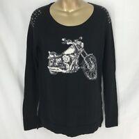 Motorcycle Biker Studded Black Stretch Sweater Rock & Republic Womens Size XS