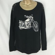 Motorcycle Biker Studded Black Stretch Sweater Rock & Republic Womens Size XS