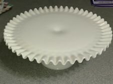 Vtg Milk Glass Cake Plate Ruffled Hobnail 12 Footed Pedestal White Stand Fenton?