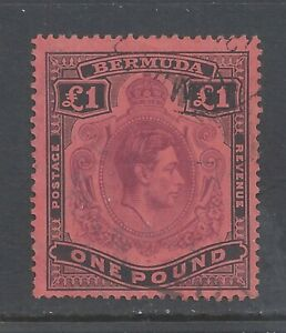 BERMUDA GVI 1938  £1 PURPLE AND BLACK (C)  PERF 14 USED  SG 121