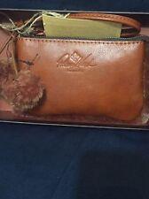 Patricia Nash  Italian Leather Wristlet W/ Rabbit Trim & Pompoms Color:Tan NWB