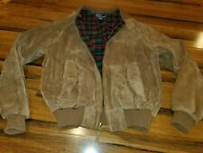 Vintage Polo Ralph Lauren Men's Leather Jacket Brown Suede Full plaid Lined med