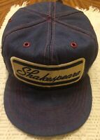 Vintage Shakespeare Fishing Rods Snapback Cap Hat Navy Blue Denim
