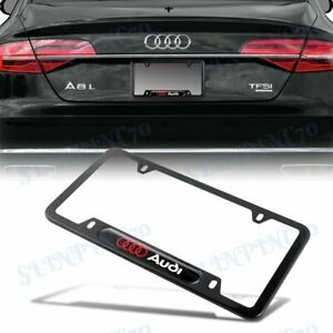 NEW 1PCS For AUDI Black Metal Stainless Steel License Plate Frame