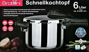 Bratoni Schnellkochtopf 6 Liter 2 Garstufen Edelstahl 18/10  Induktion neu ovp