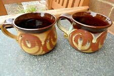 2 Alvingham Pottery Mugs - Retro Circle Pattern Hand Painted