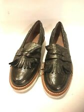 KURT GEIGER Pewter Metallic Leather  Slip-On Oxford Penny Loafers Shoes Size 41