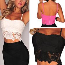 Womens Sheer Open Lace Floral Bralette Bralet Bra Bustier Crop Top Cami Tank S-L