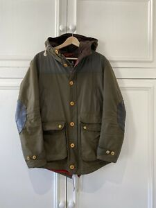 £299 Mens Barbour Game Parka olive green waxed hooded jacket Medium M
