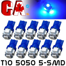 10 PCS Ultra Blue T10 LED Bulbs Car Interior License Light 2825 194 5050 5 SMD