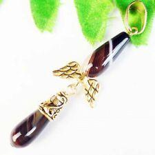 Gold Wing Pendant Bead W28368 Black White Onyx Agate Teardrop Tibetan
