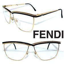 FENDI FV 177 BRILLE GOLD SCHWARZ LOGO 60`s DAMEN KETTE GLASSES SONNENBRILLE NEU