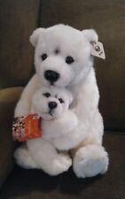 Vtg rare 1986 World Wildlife Fund plush polar bear & baby stuffed toy with tags
