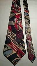 David Page Men's Tie in Navy Blue with Red Green and Beige Abstract Pattern
